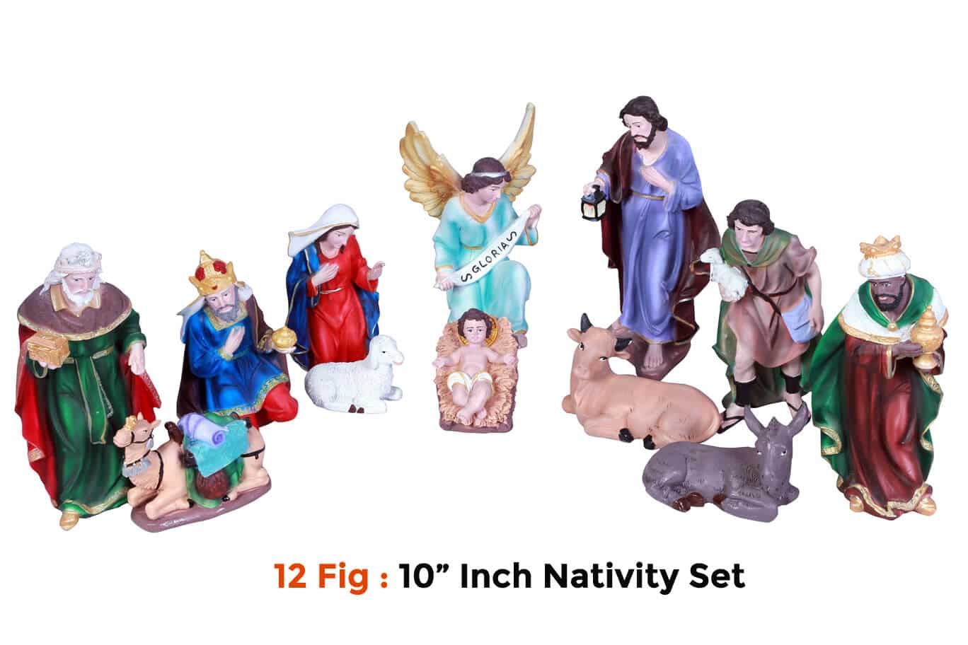 Jesuskart-10 inch-Christmas Nativity Set 12 figs