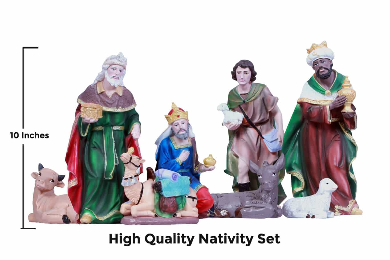 Jesuskart-10 inch-Christmas Nativity Set- Kings and cattle