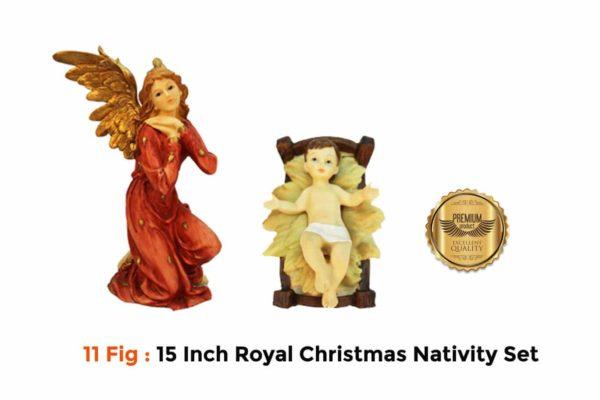 Jesuskart 15Inch Royal Nativity Set-baby jesus and angel