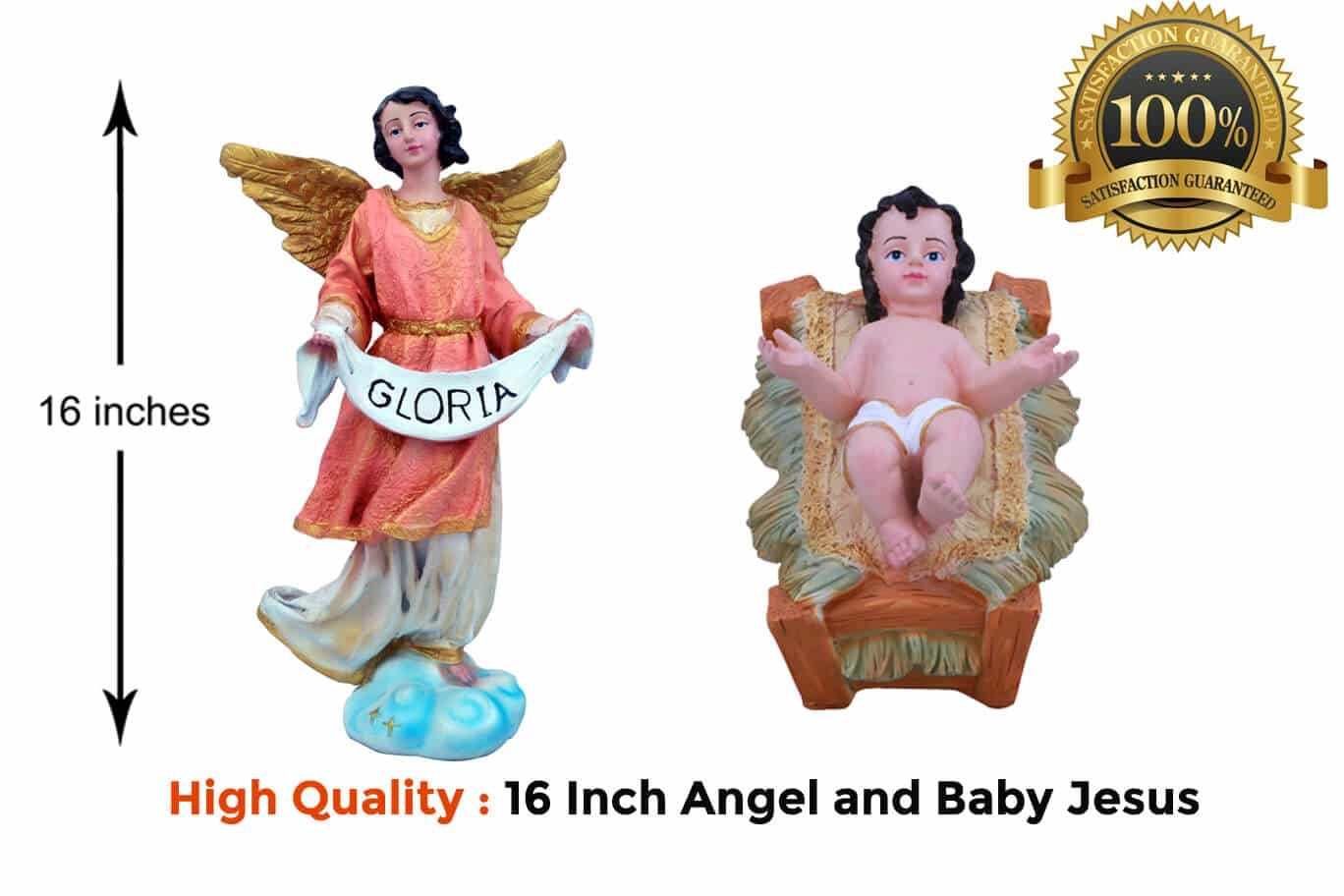 Jesuskart-16-inch-Christmas Nativity Set angel and baby jesus statues