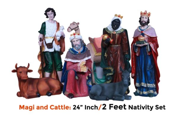 Jesuskart-24-inch-2-Feet-Christmas imported Nativity Set-magi and cattle