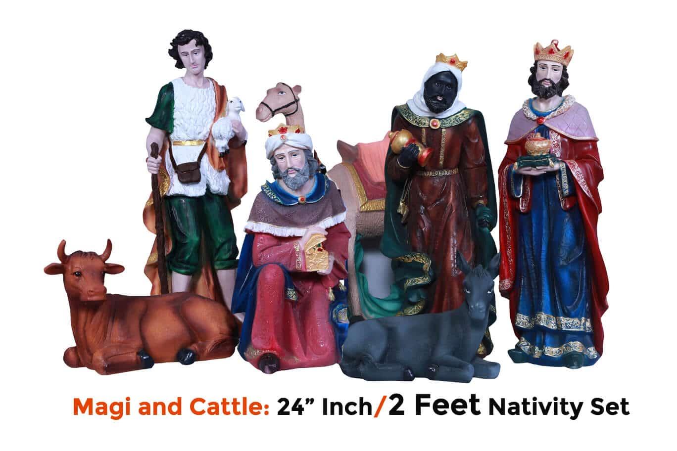 Jesuskart-24-inch-2-Feet-Christmas imported Nativity Set-magi and cattle