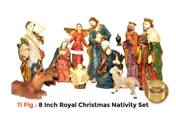 Jesuskart 8 Inch Royal Christmas Nativity Set-11 fig