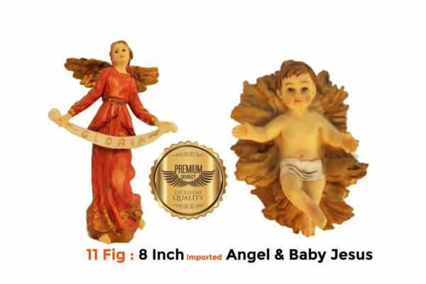 Jesuskart 8 Inch Royal Christmas Nativity Set Angel and Baby Jesus