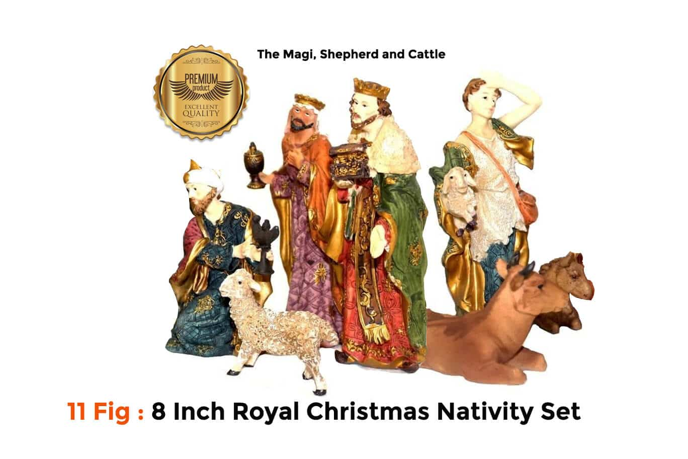 Jesuskart 8 Inch Royal Nativvity Set-11 fig-Kings cattle and shepherd