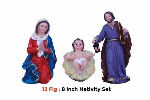 Jesuskart-8 inch-Christmas Nativity Set fiber statues