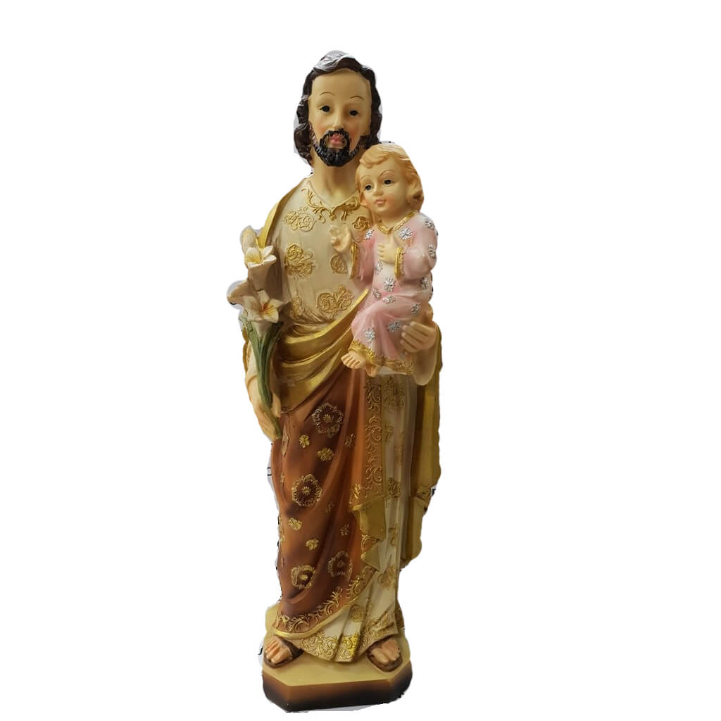 Jesuskart-saint-Joseph bith jesus and Lily flowers-statue-12-inch 1 Foot m4