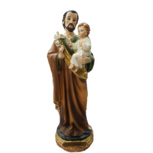 Jesuskart-saint-Joseph bith jesus and Lily flowers-statue-12-inch 1 Foot m5