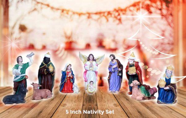 jesuskart 5 inch nativity set with 12 statues