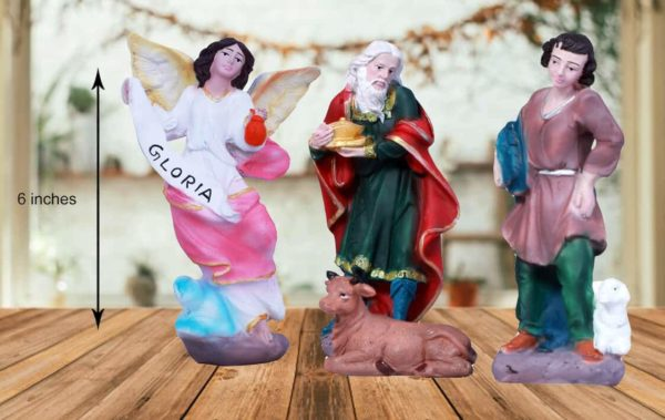 jesuskart-6 inch nativity crib set gloria and Kingsshepards