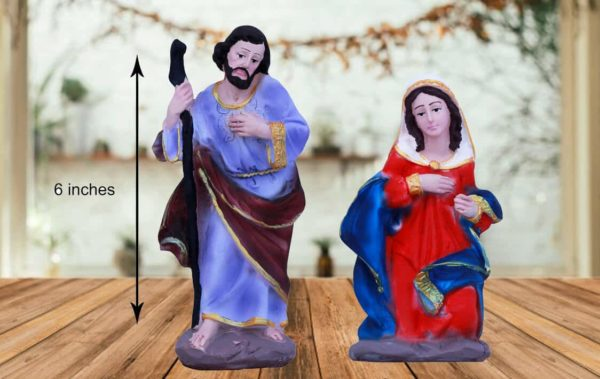 jesuskart 6inch nativity crib set mary and joseph